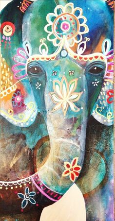 Ganesha by Tracy Verdugo Art Indien, Elefante Hindu, Arte Sketchbook, Elephant Love, Indian Elephant Art, Elephant Brain, Elephant India, Elephant Canvas, Colorful Elephant