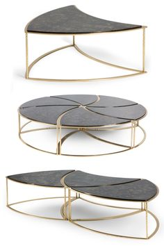 This unique 6 piece modular coffee table is available in 3 different configurations: as a single segment, in an arrangement of 3 and as one elegant centrepiece. The gleaming brass frame creates a striking outline that contrasts beautifully with the black polished top. A must have for the exceptional design fan.