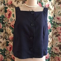 UK SIZE 12 WOMENS HOBBS NAVY BLUE LINEN SUMMER TOP  | eBay