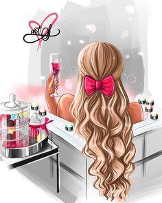 Beautiful Girl Drawing, Cute Girl Drawing, Dibujos Tumblr A Color, Girly Drawings, Black Girl Art, Fashion Wall Art, Digital Art Girl, Illustration Girl, Girl Cartoon