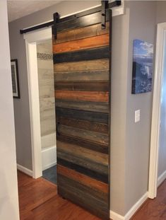 Custom Multi Stain Horizontal Plank Sliding Barn Door Etsy - Our Custom Horizontal Plank Door In An Amazing Multi Stain Finish This Is A Beautiful Door And Will Look Stunning In Your Home Each Plank Is Carefully Custom Stained To Create The Perfect Barn D Barn Bedrooms, Barn Door Designs, Diy Barn Door, Diy Sliding Barn Door, Interior Barn Doors, Home Interior Design, Luxury Interior, Modern Interior, Home Projects