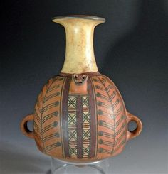 Pre-Colombian polychrome pottery vessel from the Chimu/Inca culture of ancient Peru ca. 1000-1425 A.D.