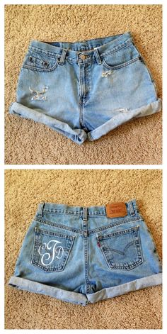 DIY Levi's high waisted shorts!! Only $15 total!! So cute. Distressed jean shorts with monogram.