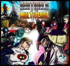 Sentinels of the Multiverse. Comic-book-art-style kaartspel waarin je cooperatief je heroes inzet tegen de vele villains. De basis doos is niet duur, zit vol prachtige kaarten en is mijn tegenhanger voor het o-zo-bekende marvel legendary. De underdog van hero-villain-card-games. Love it!