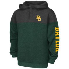 Baylor Bears Colosseum Youth Fleece Quarter-Zip Hoodie - Heathered Green/Charcoal