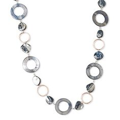 Necklace, freshwater pearl shell (dyed) and copper-plated steel, grey and black, medium nugget / 19mm round donut / 30mm round donut, 36-inch continuous loop. Sold individually.