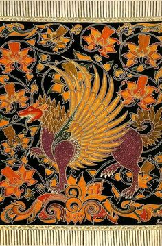 Indonesia: Singa, mythical creatures of the Batak people who live in the mountains in Sumatra. Henna, Mehndi, Barong Bali, Indonesian Art, Batik Art, Traditional Fabric, Batik Dress, Fractal Art, Mandala Art