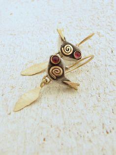 Birds Earrings  14k Gold and Sterling Silver Earrings  by Omiya.