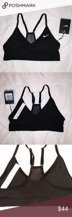 """NIKE // NWT pro padded indy bra NWT : perfect condition, original tags still attached, never worn, only tried on (no damage, stains, pilling, nor cracks in logo paint) / DRI-FIT signature blend / black w/white logo print / classic pro """"Indy"""" style, padded racerback mesh-back bra (original cups included) w/functional adjustable straps / size M, best fits 34"""" bust cup A-C / purchased @ Dick's Sporting Goods Nike Intimates & Sleepwear Bras"""