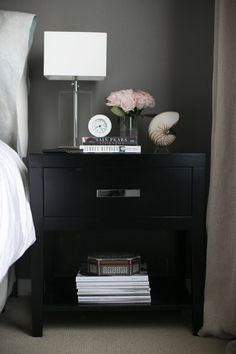 #masculine, #nightstand, #side-table, #black  Photography: Bryce Covey Photography - brycecoveyphotography.com