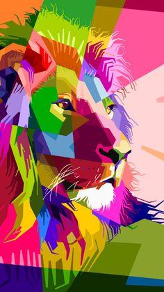 Carlene Smith - Pop Art - Spiral Notebooks for Sale Unicornios Wallpaper, Animal Wallpaper, Cellphone Wallpaper, Colorful Wallpaper, Wallpaper Backgrounds, Wallpapers Gospel, Colorful Animal Paintings, Lion Painting, Polygon Art