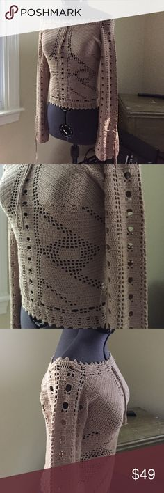 Selling this Bebe crochet off the shoulder sweater on Poshmark! My username is: rubyblonde1. #shopmycloset #poshmark #fashion #shopping #style #forsale #bebe #Sweaters