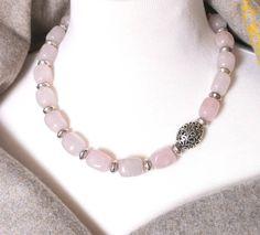 Focal Pendant Natural Rose Quartz Pendant Pink Beads Electroplated Silver Tone Pendant Semi Precious Stone Gemstone Pendants