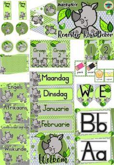 WackyNix Renoster Klas Dekor by WackyNix   Teachers Pay Teachers Presentation Format, Class Decoration, Afrikaans, Teacher Newsletter, Classroom Decor