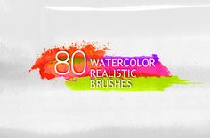 80 realistic watercolor brushes by JuliyArt on Creative Market