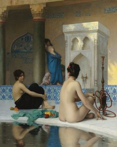 """French men enjoyed imagining Turkish women this way.    """"After the Bath"""" by Jean-Leon Gerone"""