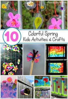 Easy spring crafts & activities for kids! Simple crafts and learning activities to do with preschoolers this spring and early summer! Colorful flower, rainbows, suncatchers and more! Lots of fun ideas for spring learning with kids! Spring Activities, Craft Activities For Kids, Learning Activities, Toddler Activities, Preschool Activities, Activity Ideas, Crafts For Kids To Make, Projects For Kids, Simple Crafts
