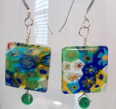 Multi color millefiori square, on sterling silver wire, green accent bead, sterling silver earwire.  Handmade by KeenansGirl https://www.etsy.com/listing/115290266/multi-color-millefiori-square-green