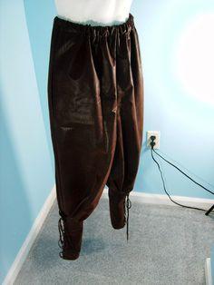 Medieval Yoke Pants Brown Faux Leather Size M/L by PavaneCostuming, $75.00