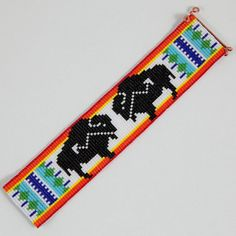 Native American Buffalo Bead Loom Cuff Bracelet by PuebloAndCo