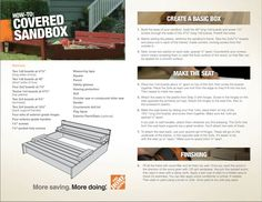Home Depot: Sandbox instructions for box with cover that folds into benches! Screen Shot 2012-05-31 at 4.19.04 PM.png: