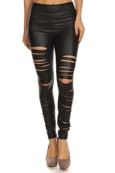 4ea95a81da585 Needing a piece that will spice up your outfit? These sexy slashed faux  leather leggings