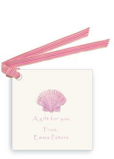 Pink Scallop Sea Shell - nautical, beach and seaside - personalized gift tag and favor tags with ribbon   Lobird.com