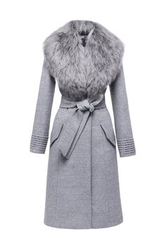 SENTALER Luxury Outerwear Long Coat with Fur Collar More