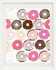 ★ Product SKU# DBM152 ★    Assorted donuts glossy print. Add a yummy colourful touch to your office, bedroom or kitchen with this fun donut