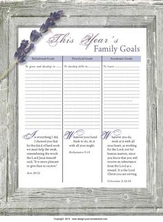 Homeschool Goal setting chart. A part of the Keep on Track Homeschool Planner from design-your-homeschool.com