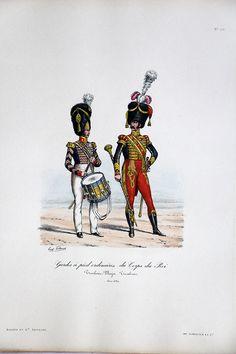 Gardes à pied ordinaires du Corps du Roi – Tambour Major 1822/1830 – Histoire de la Maison Militaires du Roi 1814/1830 – Eugène Titeux | Soldaademohler