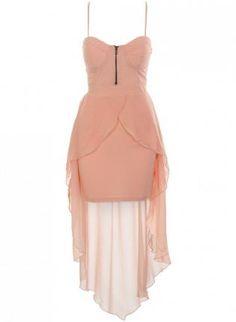 Chiffon Light Pink Sleeveless High-Low Dress with Cutout Bac,  Dress, chiffon dress  light pink  cutout back, Chic