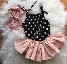 3Pcs Baby Girls Strap Dot Romper Bodysuit + Pink Tutu Skirt Dresses + Bow Headband Clothes Outfits Set