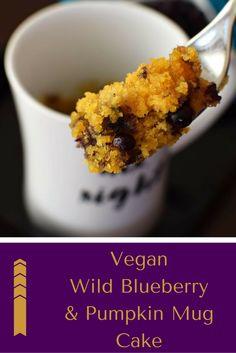 Vegan #WildBlueberry Pumpkin Mug Cake | Recipe by @GoDairyFree