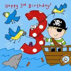 Happy Birthday - Third Birthday Wishes, Happy Third Birthday Third Birthday Boys, Birthday Wishes For Kids, Happy Birthday Kids, Art Birthday, Pirate Birthday, Happy Birthday Images, Birthday Messages, Dinosaur Birthday, Birthday Greetings
