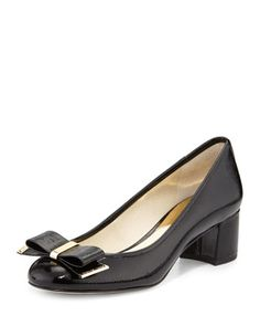 Kiera+Patent+Bow+Pump,+Black+by+MICHAEL+Michael+Kors+at+Neiman+Marcus.