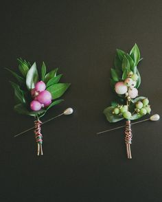 Copper wire was wrapped around the stems of the boutonnieres.