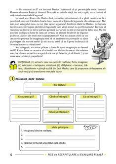 Clasa a IV-a : Fişe de recapitulare şi evaluare finală clasa a IV-a Romanian Language, Worksheets, Printables, Quizes, Literatura, Print Templates, Literacy Centers, Countertops