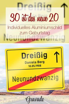 Personalisiertes Ortsschild zum Geburtstag - 30 Jahre Gift for the birthday. Village sign for a birthday. A fun gift idea for a birthday. As a gift for the girlfriend, wife, husband, sister, husb Gifts For Husband, Gifts For Family, Birthday Places, Diy Gifts For Men, Funny Birthday Gifts, Girlfriend Quotes, Place Names, Milestone Birthdays, Personalized Signs