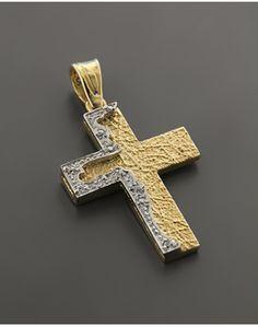 Σταυρός Χρυσός & Λευκόχρυσος Κ14 με Ζιργκόν
