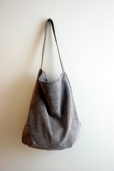 Soft Grey Large Hobo Suede Hobo Bag by PansyBag on Etsy | My Bag ...