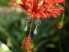 Traumfänger Ohrringe aus Sterlingsilber mit Amazonit Tropfen. Mehr Boho Schmuck gibt es auf www.zimelien.de