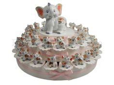 Torta bomboniera battesimo con 38 elefantina birichina #torta #bomboniera #elefanti #porcellana