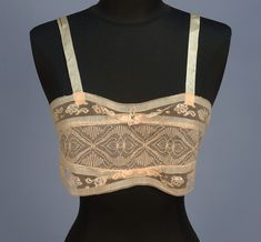 CREAM LINEN and LACE BANDEAU BRASSIERE, 1920's.