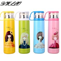 500ml New High Quality Cute Beautiful Girls Stainless Steel Coffee Thermos Cups Mugs Water Bottle For Children Women