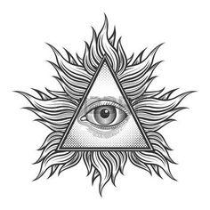 Alle sehende Augen-Pyramide-Symbol in der Gravur Tattoo Stil. Freimaurer und spirituellen, illuminati und Religion, Dreieck Magie, Vektor-Illustration