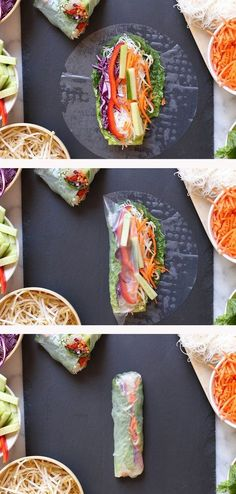 Veggie spring rolls with spicy peanut dipping sauce – vegan & gluten free Veggie spring rolls with spicy peanut dipping sauce – vegan & gluten free - Delicious Vegan Recipes Raw Food Recipes, Meat Recipes, Cooking Recipes, Healthy Recipes, Cooking Tips, Catering Recipes, Recipies, Healthy Wraps, Amish Recipes