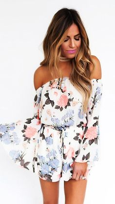 summer outfits White Floral Off The Shoulder Romper Cozy Winter Outfits, Cool Summer Outfits, Cute Summer Dresses, White Maxi Dresses, Spring Outfits, Cute Outfits, Office Outfits Women Casual, Casual Office, One Piece Clothing