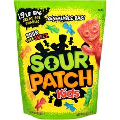Sour Patch Kids - First they're sour. Then they're sweet Sour Patch Kids are a fun, soft, and chewy candy for children and adults Enjoy these five fresh fla Mochila Pokemon, Tartaric Acid, Swedish Fish, Candy Brands, Chewy Candy, Sour Patch Kids, Sour Candy, Favorite Candy, Candy Buffet