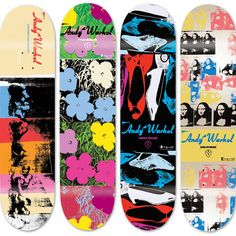 Fab.com | Far Out Warhol Skate Decks  Skateboard company Alien Workshop and The Andy Warhol Foundation recently teamed up to release a collection of '60s pop-inspired Warhol screenprints veneered on maple skate decks. A hit with collectors and skate fans alike, we think the new generation will think they're completely outta' sight.